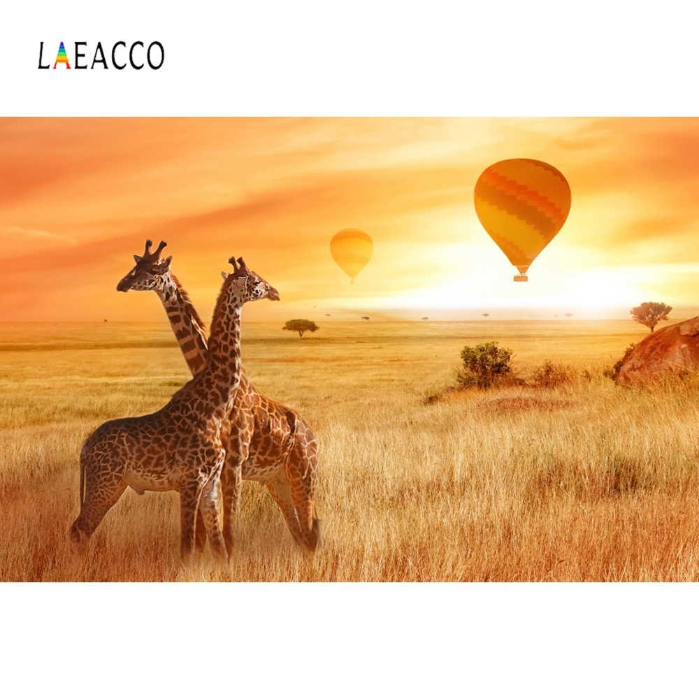 Laeacco Giraffe Nature Tree Cloud Backdrop Vinyl Photography Backgrounds Customized Photographic Backdrops For Photo Studio in Background from Consumer Electronics