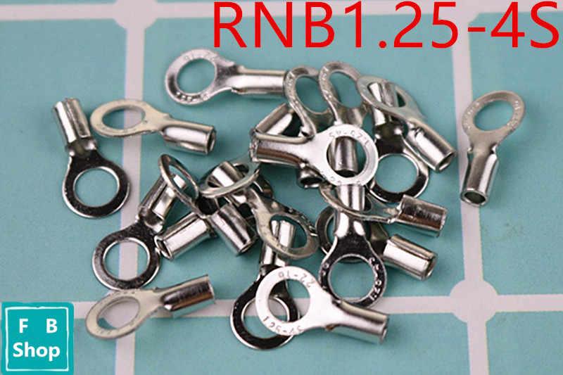 10 Uds. RNB1.25-4S anillo de 4mm de diámetro sin Terminal aislado (tipo A) terminal de Cable redondo cabeza desnuda
