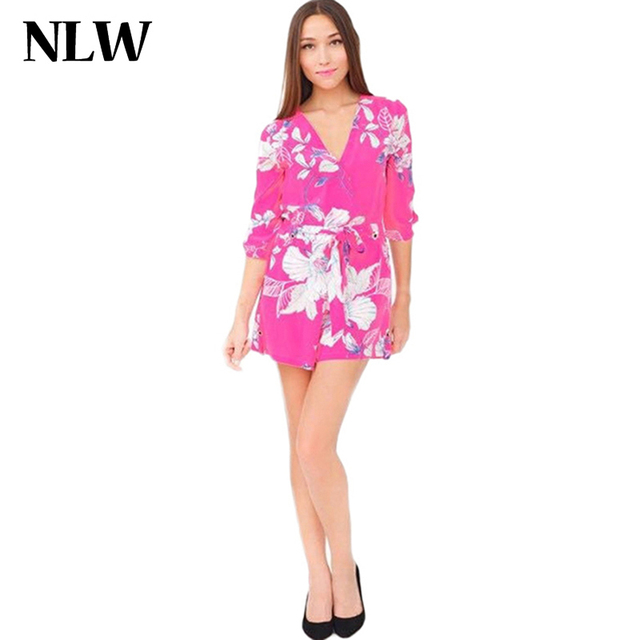 cd35528bca2 Summer Women Deep V Neck Strap Backless Sexy Beach Jumpsuit Jomper Floral  Print Halter Cross Loose