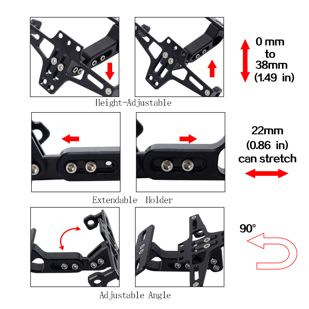 Image 2 - Universal CNC Aluminum Motorcycle Adjustable Angle Rear License 