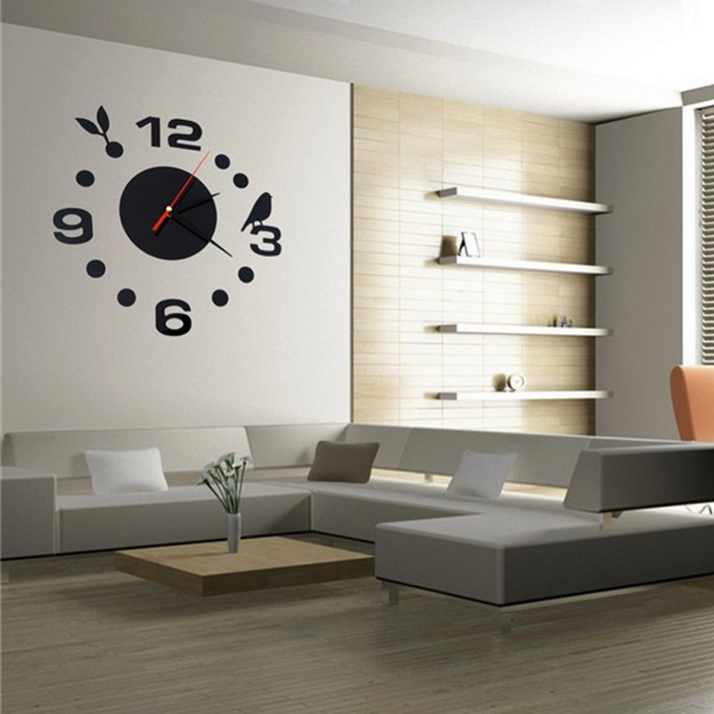 3d wall clock modern room interior digital diy 3d mirror wall sticker clockchina - Wall Modern Design