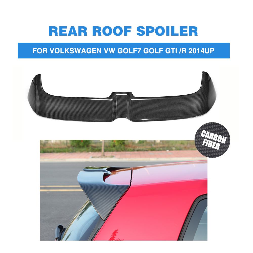 MK7 Carbon Rear Trunk Roof Spoiler for Volkswagen VW Golf 7 VII MK7 GTI R 2014 - 2017 O style Window Tail Wings FRP Black