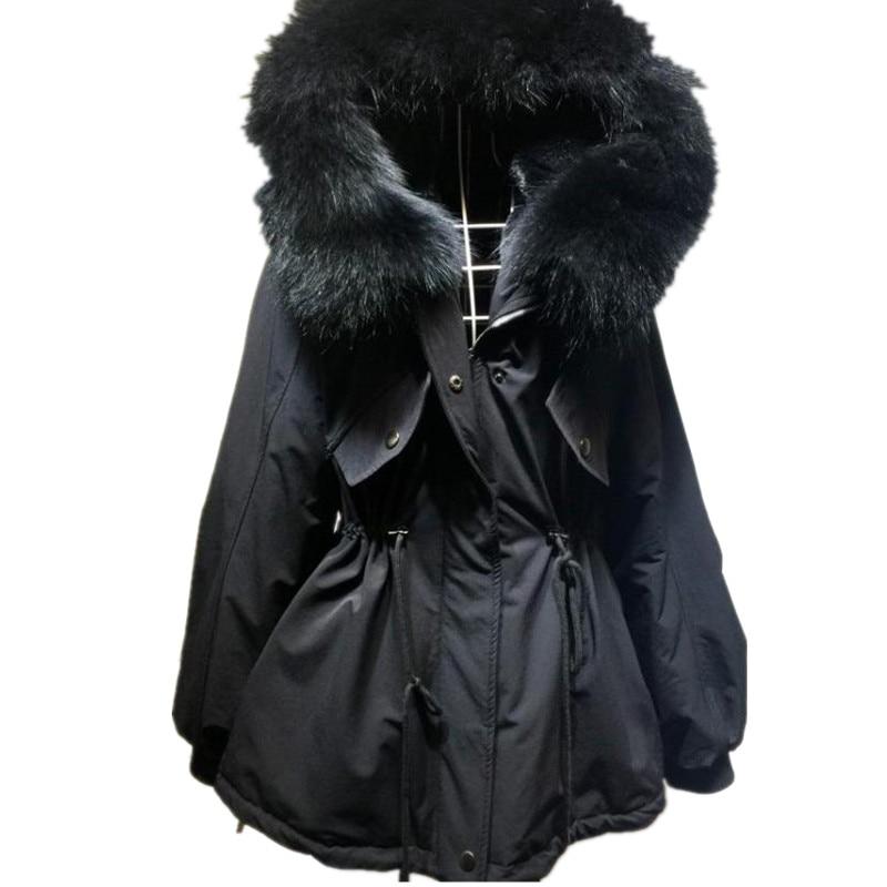 new fashion women luxurious large raccoon fur collar hooded coat warm fox fur liner parkas long winter jacket top quality W162