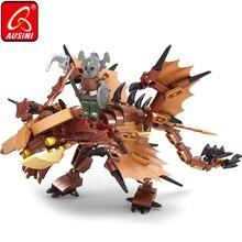 AUSINI דרקון אביר אבני בניין DIY מעצב צעצועים לילדים לוחם איור לבני פלסטיק דגם ילדי לחיות בני