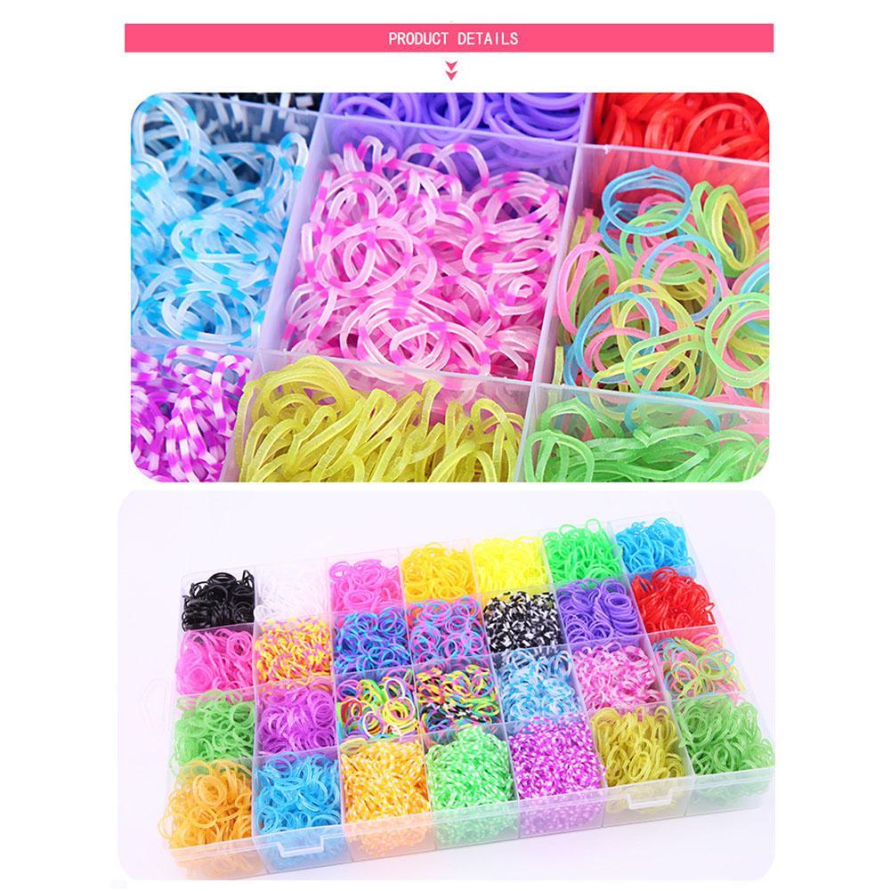 Creative DIY Toy Rainbow Rubber Band Twisting Loom Set Rubber Weaving Machine Band 28 Set Friendship Bracelet Children's Making