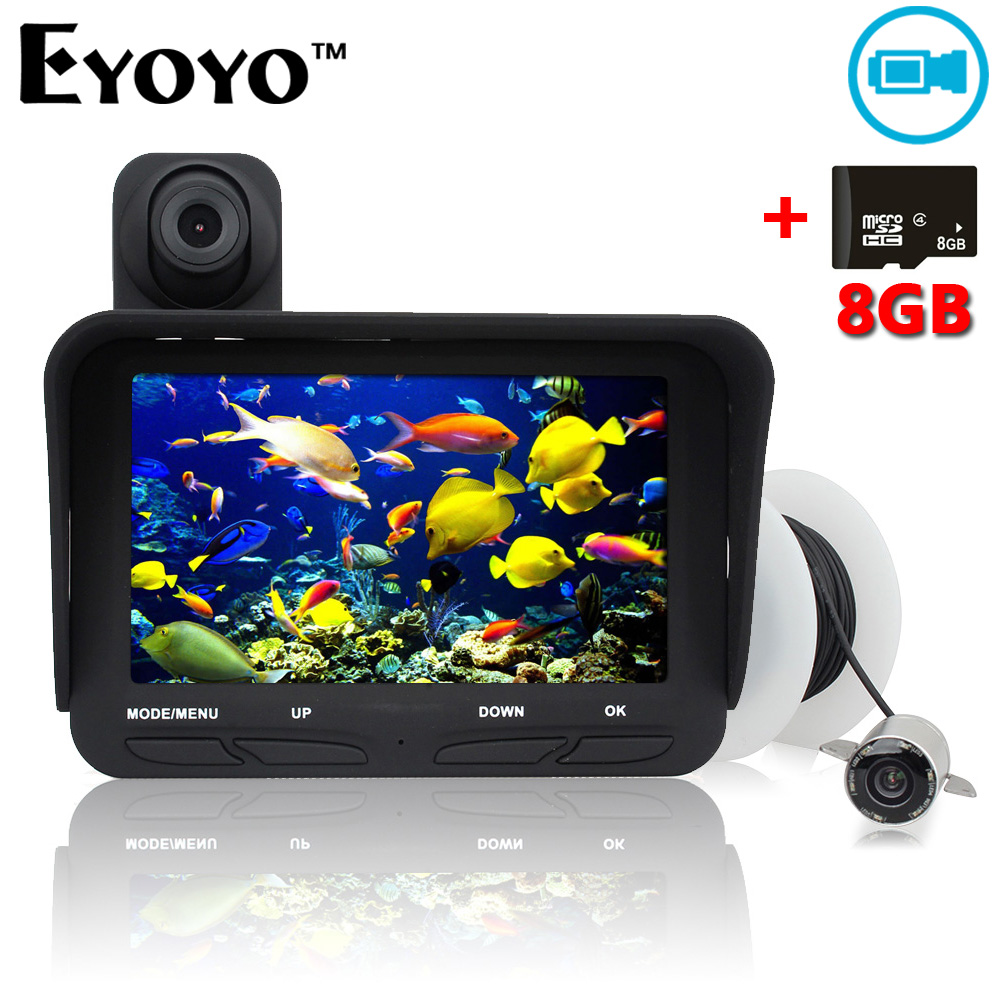 Eyoyo 20m Professional Fish Finder DVR Video Recorder 6 Infrared LED Underwater Fishing Camera+Overwater Camera+Free 8GB TF Card free shipping boblov 15m 7 lcd 1000tvl fish finder infrared fishing camera dvr recorder ip68