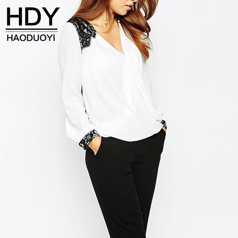 HDY haoduoyi новый блузка женская мода повседневная топы кружева лоскутная шифон блузка рубашка с длинным рукавом офис леди блузка