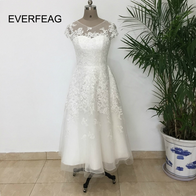 Vintage Short Wedding Dress 2017 Women Lace Appliques A Line Customized Elegant Sleeve