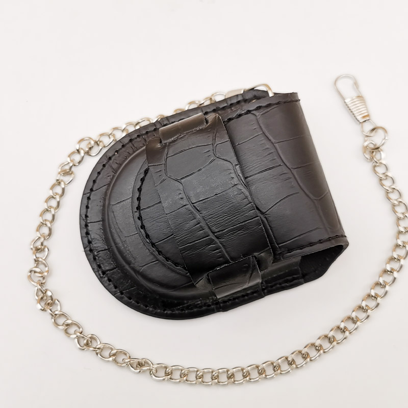 Fashion Male Back Brown Cover Vintage Classic Pocket Watch Box Holder Storage Case Coin Purse Pouch Bag With Chain