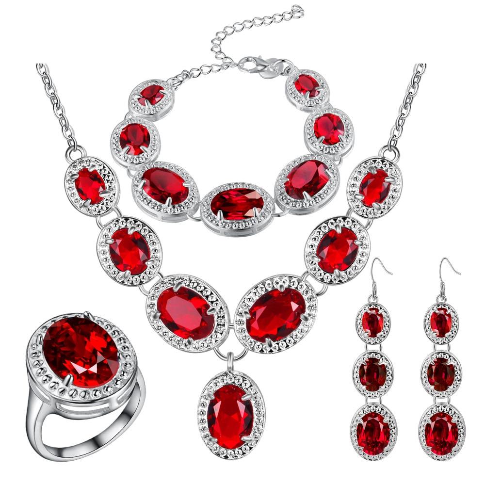 Mystic Red Zircon 925 Silver Costume Jewelry Sets Women Earrings Rings Pendant Necklace Bracelets Set Jewelery mystic red zircon 925 silver costume jewelry sets women earrings rings pendant necklace bracelets set jewelery