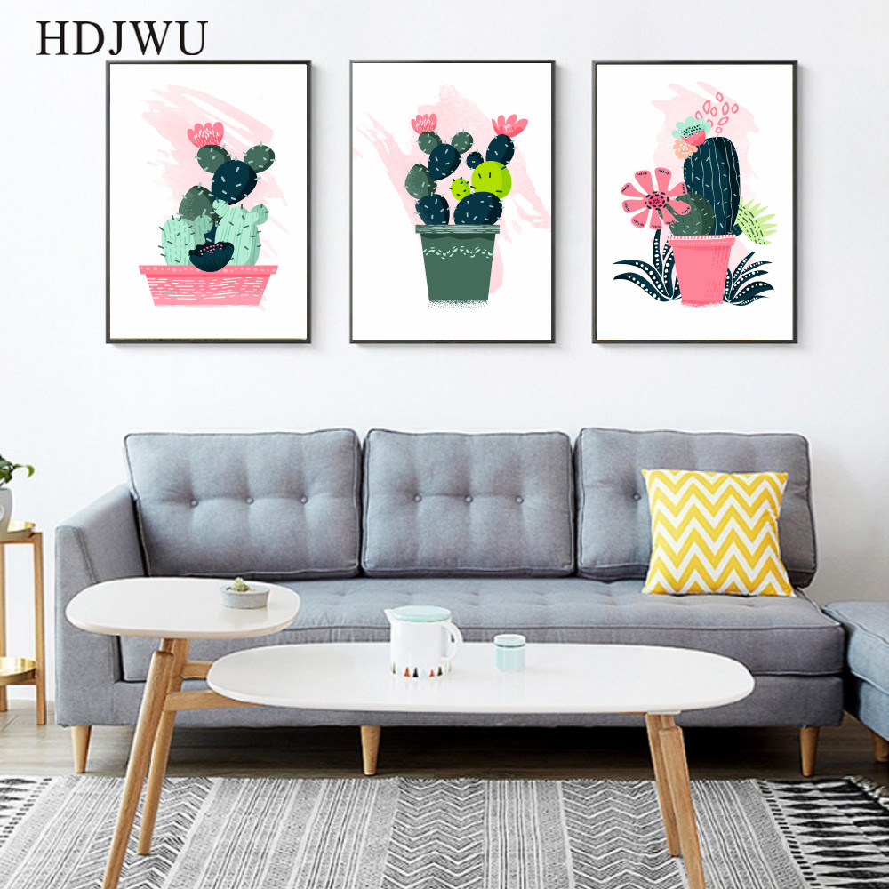 Nordic Art Home Decor Canvas Painting Wall Pictrue Hand painted Colorful Plant Pot Printing Wall Poster for Living Room AJ0076 in Painting Calligraphy from Home Garden