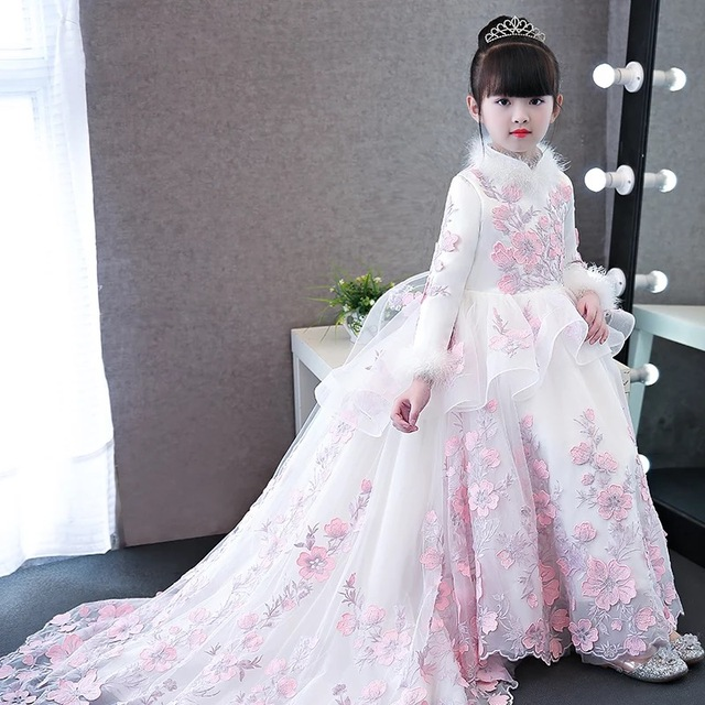 2017baby girls elegant flowers princess dresses children kids long tail  evening ball gown birthday party wedding 90f609873e09