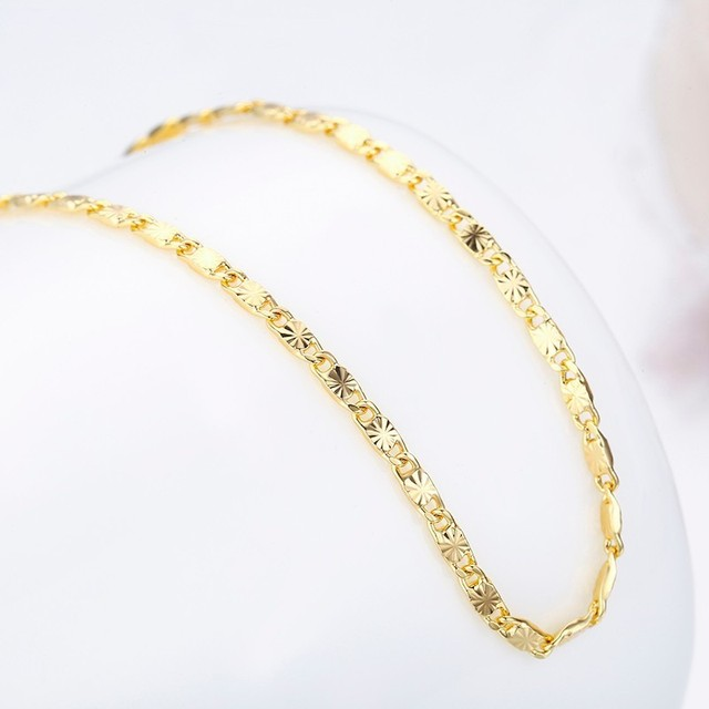 Yellow Gold Color Thin Carve Tile Chain Choker Short to Long Necklaces For Women Girls Kids Baby Children Jewelry Kolye Collier