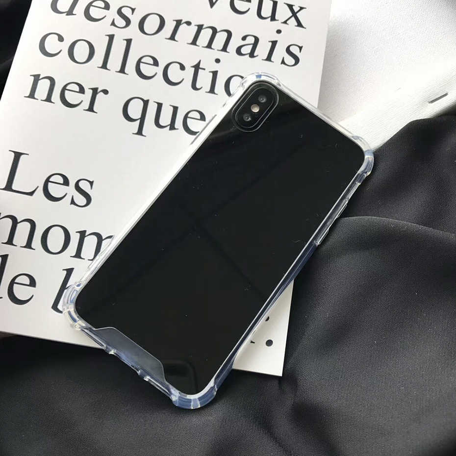 Funda trasera Qianliyao espejo para iPhone XS Max XR para iPhone 6X6 S 7 8 Plus 11 Pro Max Anti Shock caso Capa Coque