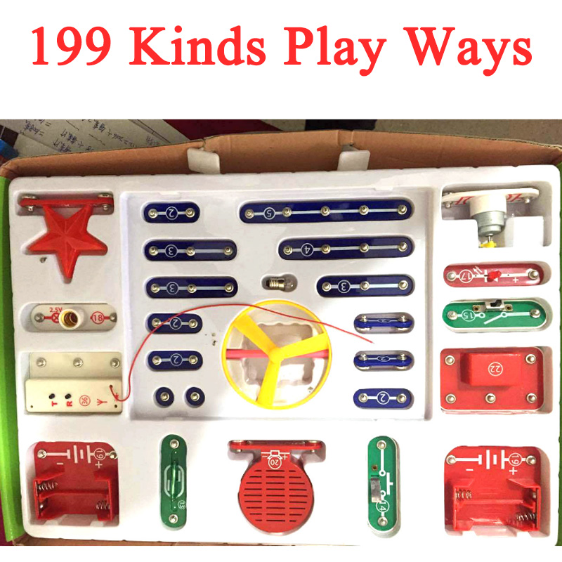 New Arrival 1Set Electronic Building Blocks 199 Ways Kinds Mode Snap Circuits Electronics Discovery Kit Assembling