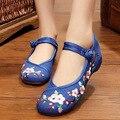 Старинные Вышивки Обувь Осень старый Пекин Китайский plum вышитые ткани обувь национальные танцевальные Одиночные Мягкие ботинки размер 34-41