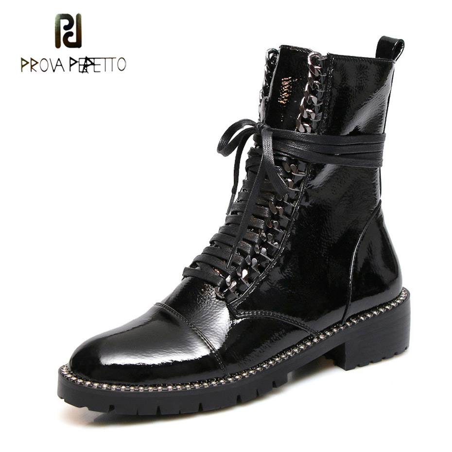 Prova Perfetto fashion cross tied side zipper martin boots women short boots patent leather round toe thick bottom knight boots цена 2017