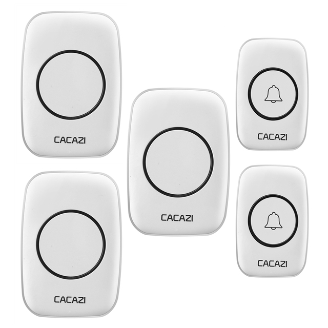 CACAZI AC 100-240V DoorBell Waterproof 300m work range Wireless Door bell 2 transmitters+3 receivers 38 Ring tunes door chime