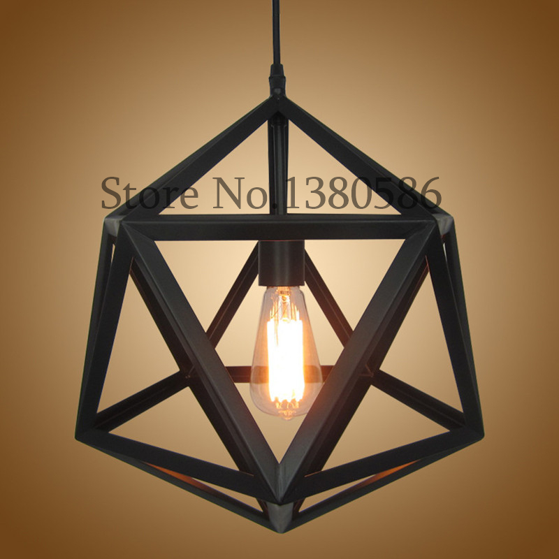 Creative American Vintage Bar Cafe Restaurant Pendant Lamp E27 Iron Retro Industrial Wind Geometric Diamond Pendant light new loft vintage iron pendant light industrial lighting glass guard design bar cafe restaurant cage pendant lamp hanging lights