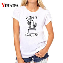 Summer New Do Not Touch Me Cactus Print Casual Harajuku Fashion Women Vintage O-Neck White T-Shirt Tops woman clothes