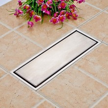 Free Shipping 304 Stainless Steel 300 x 110mm Square Anti odor Floor Drain Bathroom Invisible Shower