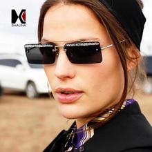 SHAUNA Trending Glitter Eyebrow Women Small Square Rimless Sunglasses Fashion Men Clear Green Pink Purple Glasses UV400