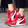 Women Casual Breathable Lace-Up High Tops Mesh  Walking Shoes Height Increasing Shoes Wedges Mesh Zapatillas Deportivas Mujer