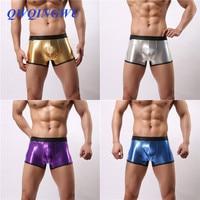 4PCS/Lot Sexy Men Boxers Leather Wrestling Hot Jockstrap Boxers Gold Faux Leather Erotic Gay Jumpsuit Lingerie Underwear Boxer