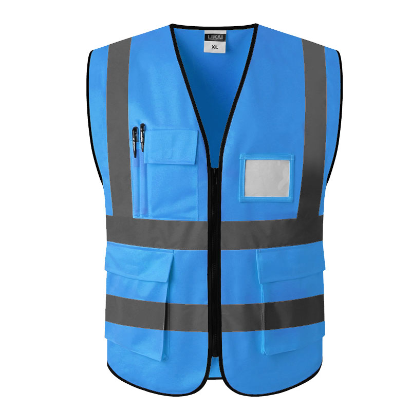 Hi vis vest blue workwear reflective safety vest pockets logo printingHi vis vest blue workwear reflective safety vest pockets logo printing