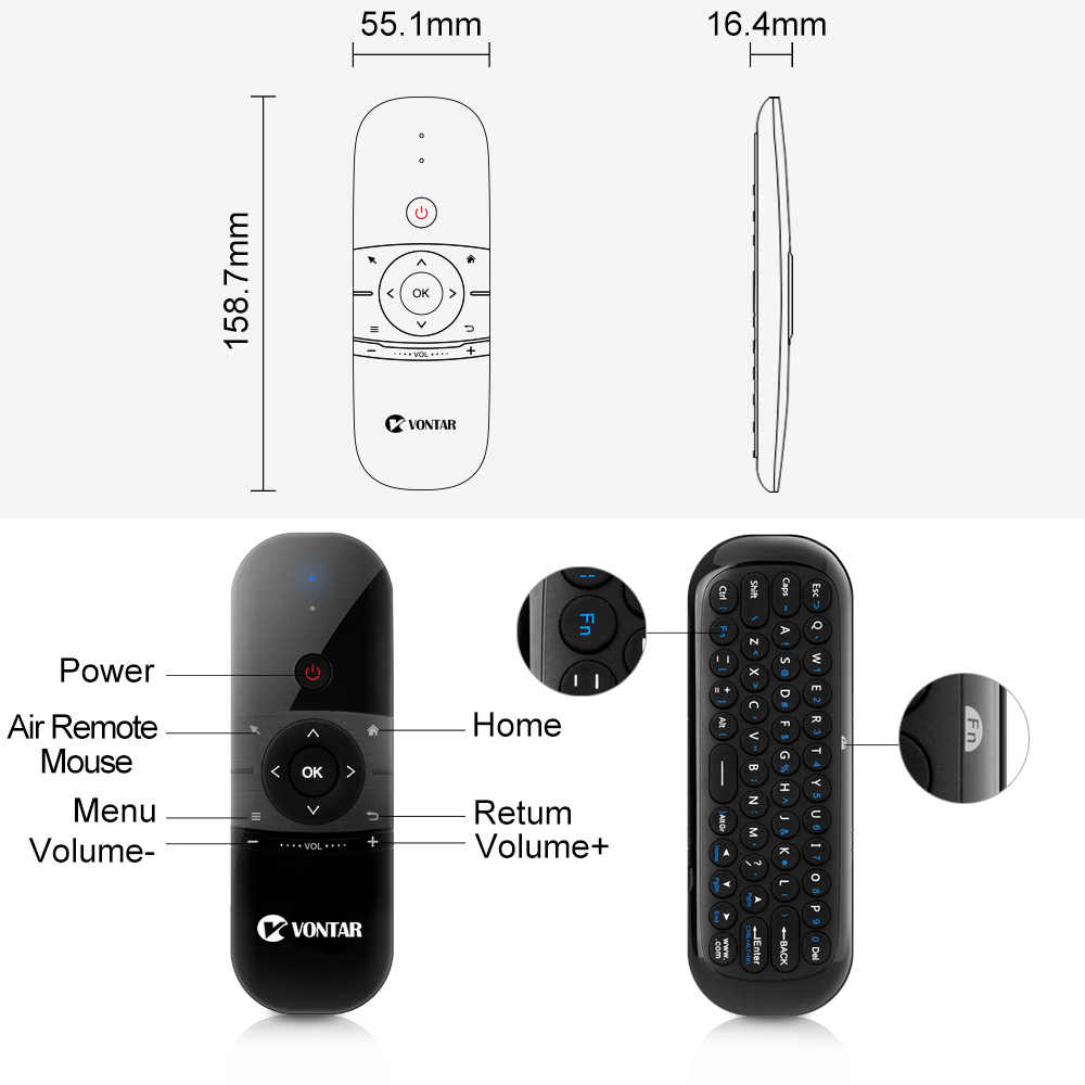 Calvas New mini wireless keyboard H1 aerial remote control mouse gyroscope touchpad Air Mouse support windows Android system Color: With backlight