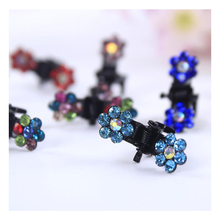 12pcs / Lot girls cute small Flower Rhinestone hair claws children lovely hair Clips hairpins Kids fashion Accessories for hair 2pcs lot new baby girls lovely flower pearl small hair clips newborn safety hairpins few hair holder clips kids hair accessories