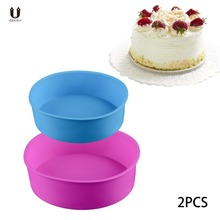 Uarter 2PCS Silicone Dining Pastry tools Round Mold Sets Kitchen Mousse Cake Moulds High quality Baking Pan for Cake Molds