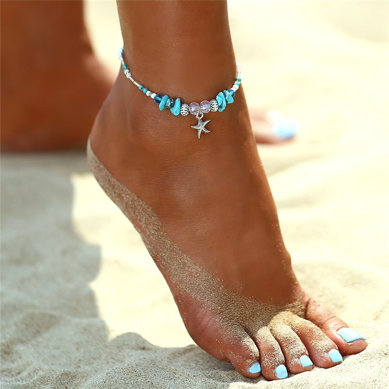IF ME Bohemian Starfish Beads Stone Anklets for Women BOHO Silver Color Chain Bracelet on Leg Beach Ankle Jewelry 2018 NEW Gifts 1