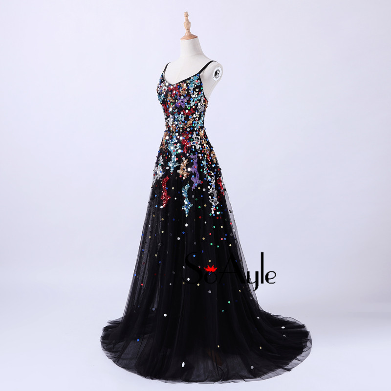 SoAyle 2018 A-Line Spaghetti Straps Sequin Colorful Evening Dresses  Backless Plus Size Vestidos De Festa Vintage Tulle Long Dres b4423fdd5522