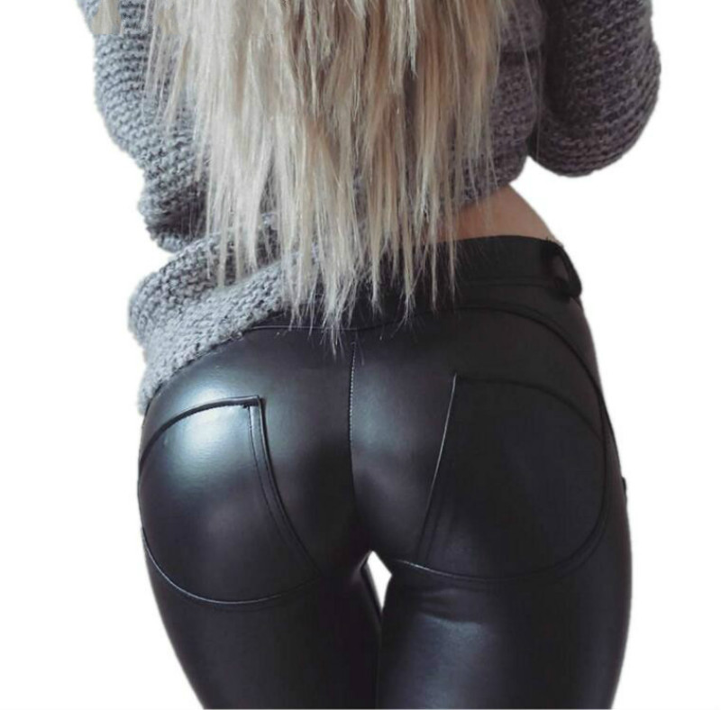 Spring big Sizes narrow elevator Hip Pants PU leather elastic black pencil Pants For women Sheath Sexy Moto Casual leggings