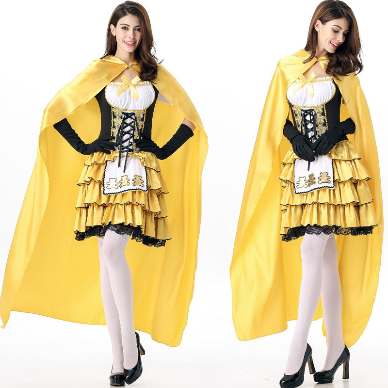 Halloween new high quality cute snow princess dress fairy tale cosplay role-playing party carnival suit yellow maid maid costume