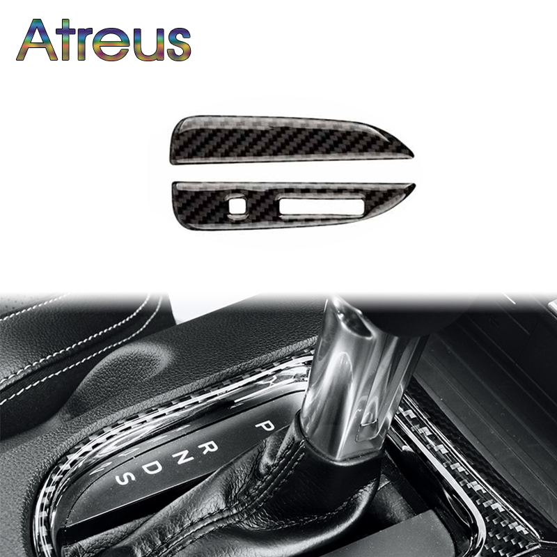 Atreus For Ford Mustang 2017 2016 2015 Accessories Ford-Mustang GT500 GT 350 Carbon Fiber Car Gears Shift Panel Trim Stickers машина мет пламенный мотор 1 43 ford mustang gt откр двери цвета в ассорт
