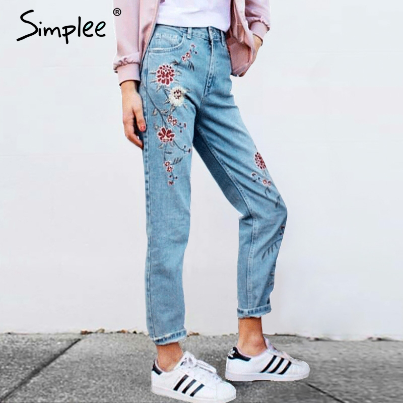 Simplee Vintage flower embroidery jeans female Pockets straight jeans women bottom Light blue casual pants capris summer 2017 flower embroidery jeans female white casual pants capris spring summer pockets straight jeans women bottom pu patchwork trousers