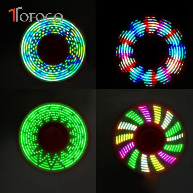 TOFOCO New Light Fidget Spinner Led Stress Hand Spinners Glow In The Dark Figet Spiner Cube EDC Anti Finger Toy
