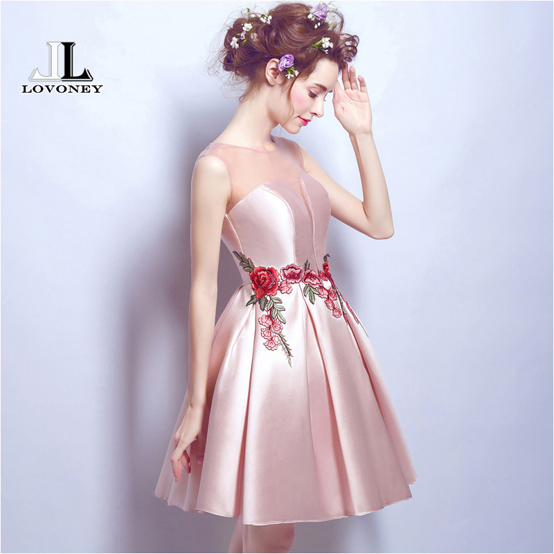 LOVONEY M203 New Design Sexy Open Back A Line Short Prom Dresses 2019 Formal Party Dress Vestido De Festa Curto-in Prom Dresses from Weddings & Events    3