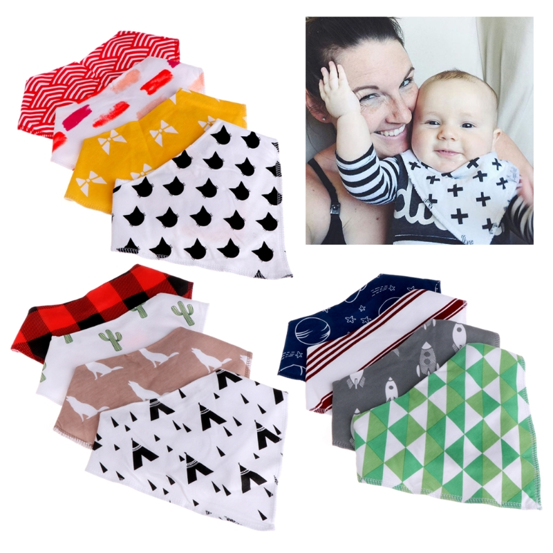Hot 4Pcs Baby Unisex Feeding Bibs Saliva Towel Dribble Triangle Bandana Head Scarf #330
