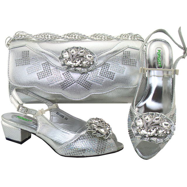New Design Silver Concise 4cm Shoes With Matching Bag Set Fashion Italy  Shoes And Bag To Match African Women Shoes For Parties 1808546b3d91