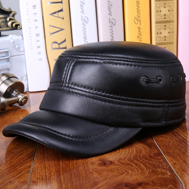 79c32cd2e4fbe Men s leather hat warm winter sheep leather flat cap casual ear protection  quilted sheepskin military hat