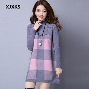 Image 1 - XJXKS Maglione di inverno delle donne dolcevita lungo allentato sezione della maglioni delle donne di modo di autunno pullover di ispessimento