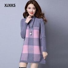 Женский Длинный свитер с высоким воротником XJXKS, свободный утепленный пуловер на осень и зиму