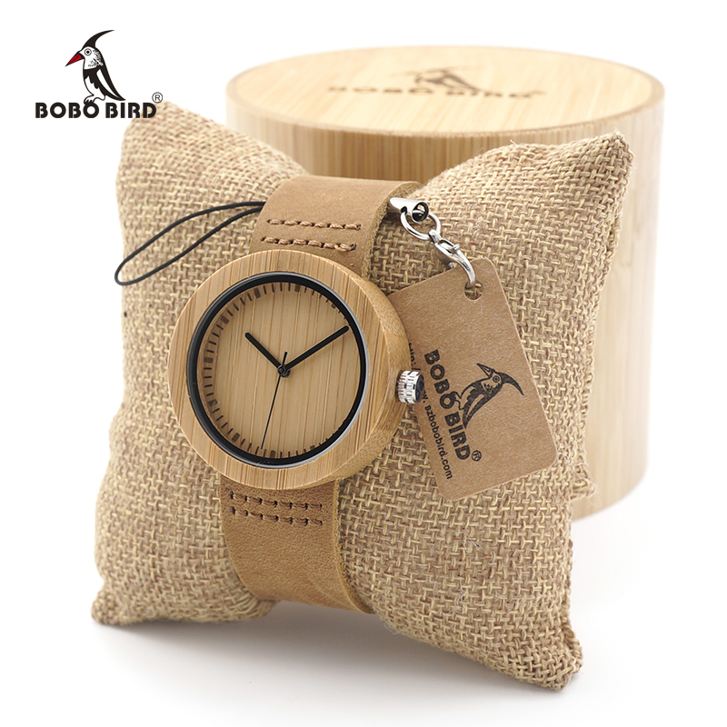BOBO BIRD Round Bamboo Wooden Watch Ladies Quartz Wood Women Clock In Gift Box Custom Logo