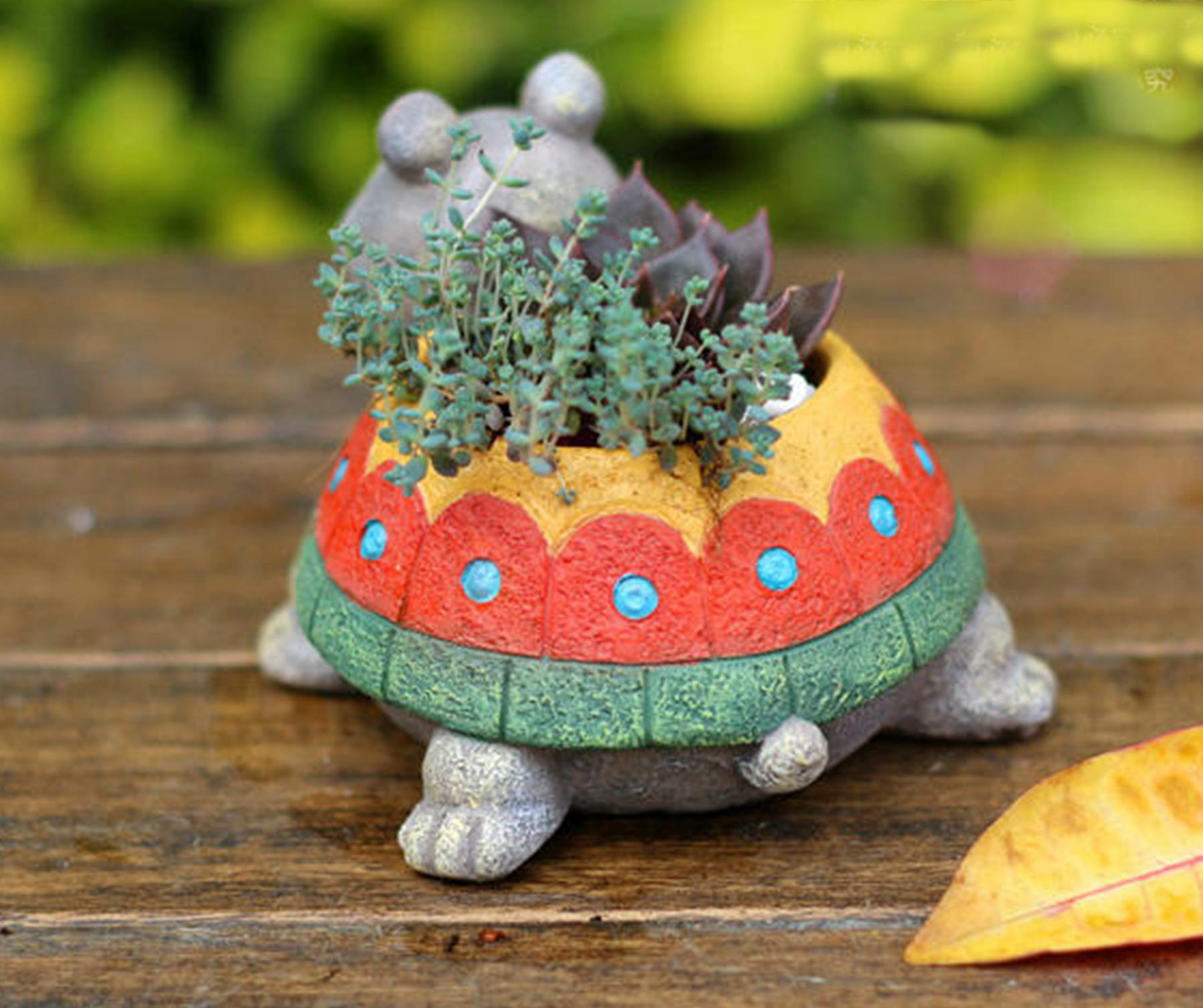 Tortoise Resin Pot Cacti Succulent Plant Flower Planter Mini Garden Design In Pots Planters From Home On Aliexpress Alibaba