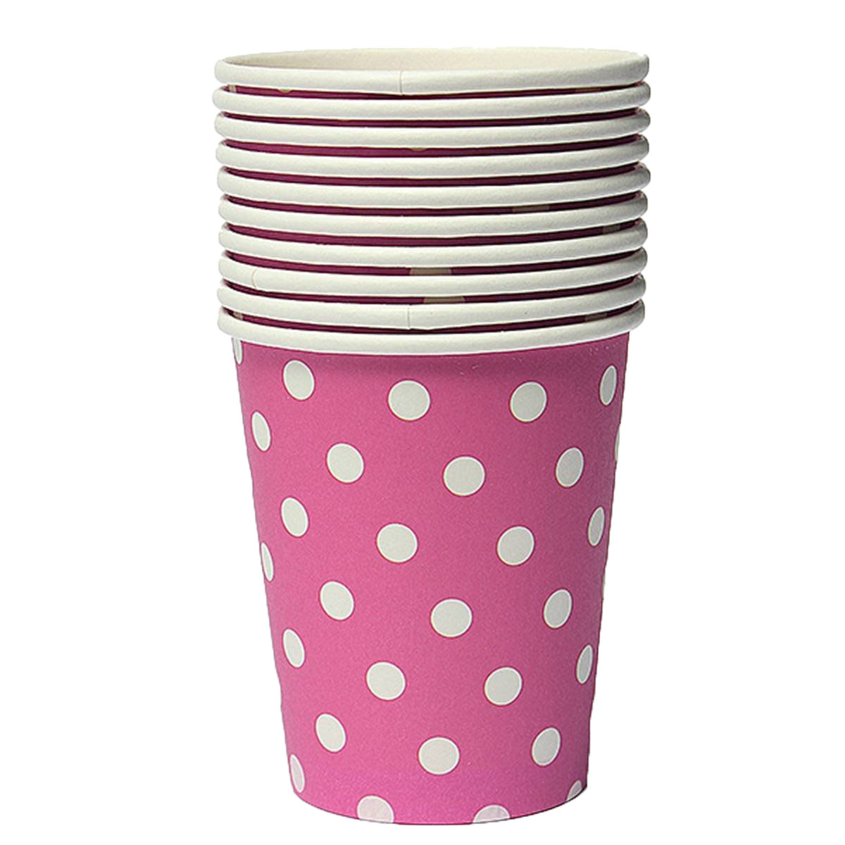 NHBR 50pcs Polka Dot Paper Cups Case Disposable Tableware Wedding Birthday Decorations Pink