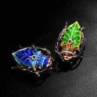 cloisonne enamel Silver brooch old Beijing enamel craft insect brooch