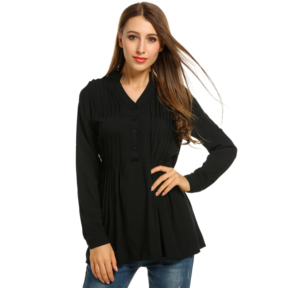 Zeagoo Women Casual Shirt 2018 Solid Pleated Tunic Tops Loose V-Neck Basic Long Sleeve Office Ladies Blouse Plus Size 1